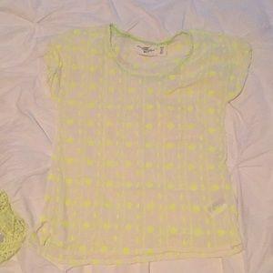 H&M set of 2 tops neon yellow tank & short sleeve